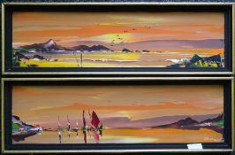 GEORGE R DEAKINS, a pair of paintings, oil, framed. 56 x 15 cm excluding frames. 60.5 x 19.
