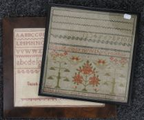 Two Victorian samplers, one dated 1839, the other 1866, each framed and glazed. The former 31 x 31.