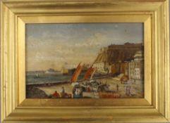 GIANNI, Maltese Scene, oil on board, framed. 18.5 x 11.5 cm.