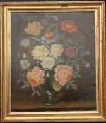 J VAN DE BERGER, Flowers, oil on board, signed, framed. 27.5 x 33 cm.