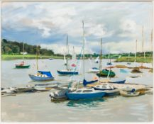 HENRIETTA CHARTERIS (20th/21st century) British, The Boats, oil on board, framed. 48.5 x 38.5 cm.