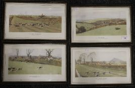 Four 19th century CECIL ALDIN Hunting prints, each framed and glazed. Each 30 x 14 cm.