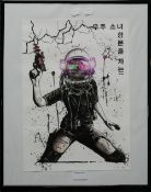 Cyber Punk Post-Apocalyptic Art by Mashiene II, framed and glazed. 29.5 x 41.5 cm.