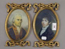 A pair of gilt framed miniatures. 23 cm high.