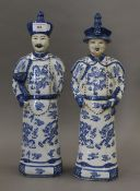 A pair of Chinese porcelain blue and white figures. The largest 43.5 cm high.