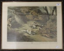 Three 19th century Hunting prints; together with an unframed LEIGHTON MOSES, Hunting Dog,