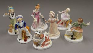 A set of seven Francesca Art China Days of the Week porcelain figurines. The largest 17.5 cm high.