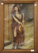 19TH CENTURY SCHOOL, Woman with a Lute, oil on canvas, indistinctly signed, framed. 38 x 58 cm.