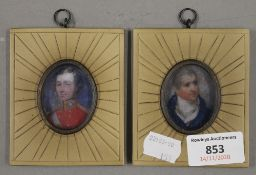 A pair of framed miniatures. 8 x 9.5 cm overall.