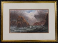 CHARLES EDWARD BRITTAN, Rough Seas, watercolour, signed, framed and glazed. 47 x 29 cm.
