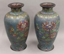 A pair of large cloisonne vases. 39.5 cm high.