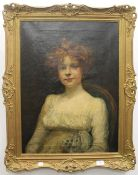 ENGLISH SCHOOL (19th century), Portrait of a Young Woman, oil on canvas, indistinctly signed,