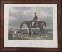 "Mr Charles Davis on ""The Traverser"", print, framed and glazed. 68 x 57 cm overall."