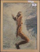 SALLY TRUEMAN (20th/21st century) British, Swimming Nude, pastel, framed and glazed. 38.5 x 39 cm.