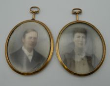 Two Victorian portrait miniatures on ivory, depicting Oswald Smith-Ringham, Rector of Crudwell,