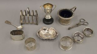 A quantity of small silver items, including napkin rings, mustards, etc. 9.