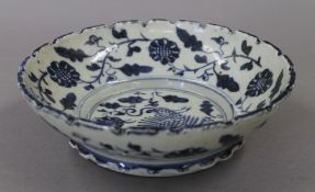 A Chinese blue and white porcelain bowl. 20.5 cm diameter.
