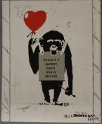 THE REAL NOT BANKSY FRONT, True Love Fake Art Suckers, screen print on board,