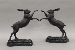 A pair of boxing hares. 29.5 cm high.