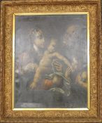 18TH/19TH CENTURY SCHOOL, The Madonna and Child with Cherub Kissing his Hand, oil on canvas, framed.