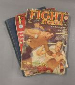 Two 1930/50s Fight Story magazines together with a vintage book of WWII.