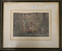 A 19th century Fores's coloured coaching engraving, The Olden Time, framed and glazed. 34 x 25.5 cm.