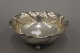 A French silver bowl, marked and inscribed to the underside. 14 cm diameter. 4.3 troy ounces.