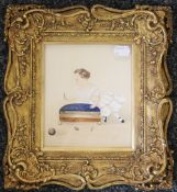 A 19th century gilt portrait miniature of a young girl, framed and glazed. 14.5 x 17 cm. 27 x 29.