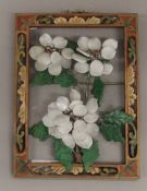 A Chinese hardstone mounted wall hanging. 20 cm high.