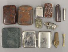 A quantity of smoking related items, including vesta's, cigarette cases, etc.