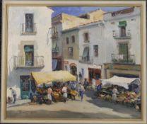 SARQUELLA, Spanish Village Scene, oil, signed, framed. 53 x 45 cm.