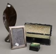 A mother-of-pearl inlaid glove box, a treen vase, etc. The former 27 cm wide.