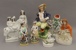 A collection of 19th century Staffordshire figures. The largest 30 cm high.