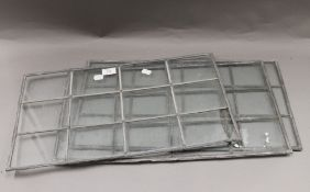 Three vintage lead light windowpanes. 54 x 28.5 cm.