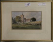 W F GARDEN, Church View, watercolour, signed and dated 87, framed and glazed. 20 x 12 cm.