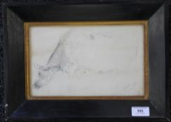 A pencil sketch drawing of a Cow, indistinctly signed, possibly J ALSOP, dated 1859,