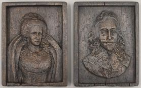 Two small carved panels of Charles II and Elizabeth I. 10.5 x 14 cm.