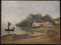 FRED C FENNY, Pin Mill Suffolk, oil on canvas. 61 x 46 cm.