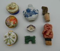 A quantity of miscellaneous items, including enamel boxes, snuff bottle, jade dragon, etc.