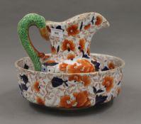An Ironstone jug and bowl set