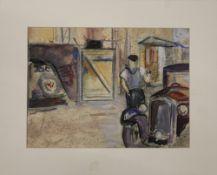 D J LACROIX, Vintage Cars, oil and pastel on paper, unsigned. 29 x 21.5 cm.