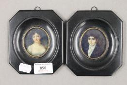 A pair of framed miniatures. 11 x 13 cm.