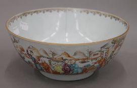 An 18th century Canton punch bowl. 23 cm diameter.