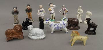 A quantity of various porcelain figures and animals