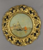 A 19th century oil on canvas, Venetian Scene, housed in a circular florentine gilt wood frame.