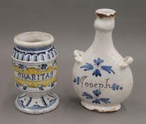 A Charitas Albarello and a Joseph guglet. The former 14 cm high.