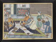 A 19th century Ottoman painting on silk, framed and glazed. 38.5 x 28 cm.