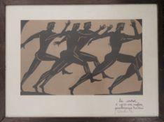 A 1930s lino cut, framed and glazed. 35.5 x 22 cm.