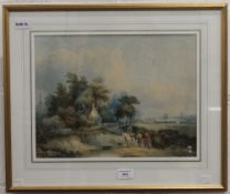 EDWARD WILLIAMS (1782-1855) British, Scene on the Surrey Wold, watercolour, framed and glazed.