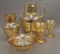 A quantity of 'amber' glassware.